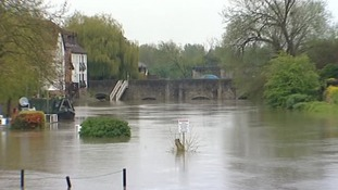 Gardens lay submerged in Tewkesbury, Gloucestershire.
