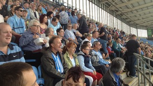 Football fans fill the stands at the Ricoh Arena for legends match