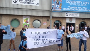 Fans protest outside Coventry City's new 'home' ground in Northampton