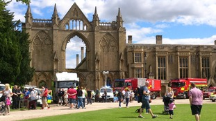 Visitors to Newstead Abbey look around fire engines, police vans and other emergency service vehicles as part of the event