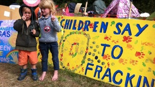 children at fracking site