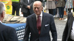 Prince Philip arriving to present medals in Scotland.