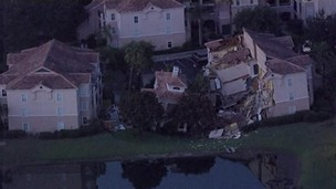 A Florida resort villa has partially collapsed because of a sinkhole.