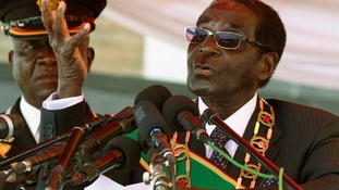 Zimbabwean President Robert Mugabe speaking today.