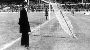Policemen guarding the goals at Wembley in 1979