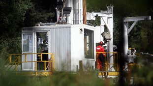 Engineers drill a test well in Balcombe, Sussex to search for deposits of oil and shale gas