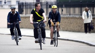 David Cameron regularly uses his bike to get around Westminster