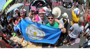 Cycling fans from Yorkshire watch the Tour de France