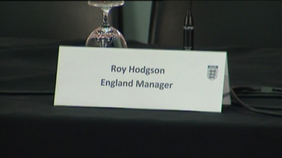 Label on desk for Roy Hodgson at press conference