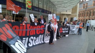 Protesters outside King's Cross train station, London