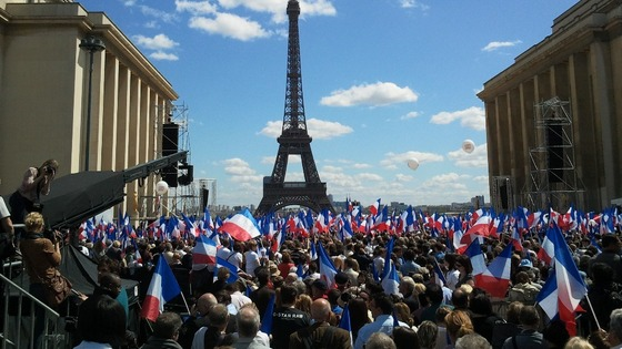 Rally in front of the Eiffel Tower in Paris, France