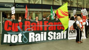Action for Rail protesters outside Kings Cross Station in central London