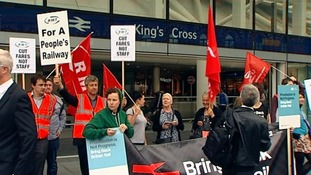 Protesters opposing a further rise in rail fares