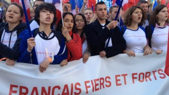 Young people march for France's Far right