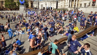 Scotland fans are gathering in their hundreds at Trafalgar Square