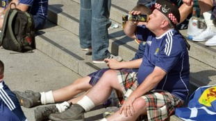 Many Scotland supporters are getting well lubricated ahead of the game