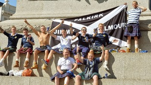 Scotland fans enjoying the sunshine in Trafalgar Square