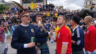 Relations between the Scotland and England supporters have been cordial