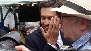 At least one of the eggs hit the Labour leader on the face while the other hit his jacket