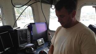 David Warwick, the tweeting fisherman, in the pilot's cabin