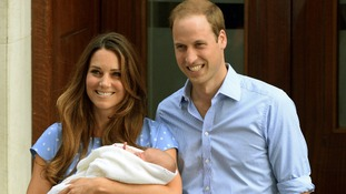 Duchess and Duke of Cambridge leave the Lido wing with their new son Prince George