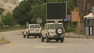 United Nations monitors leave Damascus for Homs this morning.