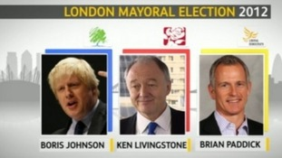 Mayoral candidates: Boris Johnson, Ken Livingstone and Brian Paddick