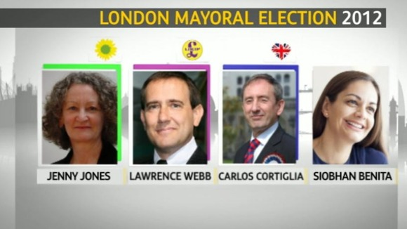 Mayoral candidates: Jenny Jones, Lawrence Webb, Carlos Cortiglia and Siobhan Benita