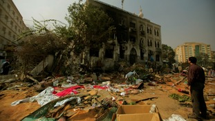 The scene at Cairo's Rabaa al-Adawiya mosque where a pro-Morsi protest camp had been.