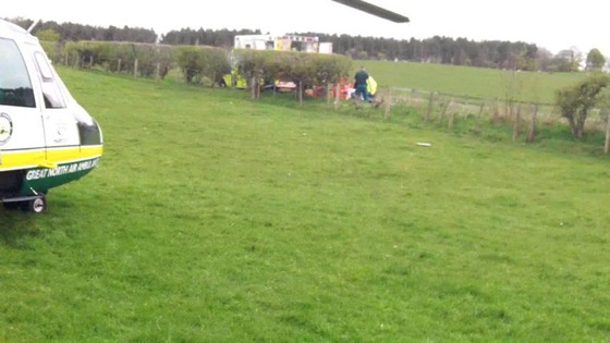 reat North Air Ambulance attends crash scene on B6305 earlier
