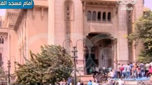 Four Irish citizens are believed to be in the mosque in central Cairo.