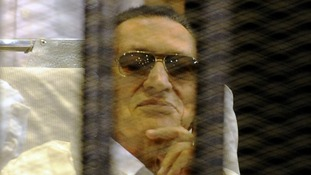 Ousted Egyptian president Hosni Mubarak pictured during a hearing in April.
