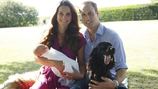 The Duke and Duchess of Cambridge with Prince George and their dog Lupo.