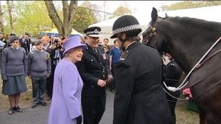 queen and police horses in Yeovil