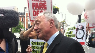 Ken Livingstone on the campaign trail in Hammersmith today.