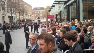 people waiting for the Queen in Exeter