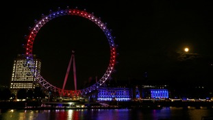 The eye was lit up in red, white and blue to herald the birth of Prince George to William and Kate