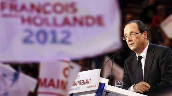 Francois Hollande delivers a speech during a campaign rally