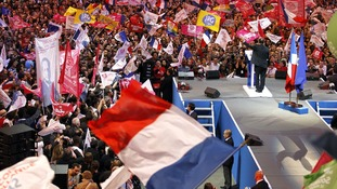 Hollande at a campaign rally in Paris last month