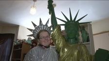 Amanda with Statue
