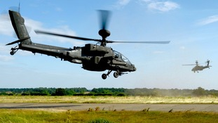 Apache attack helicopters prepare for live firing exercise