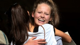 Isabella Soames, Sir Winston Churchill's great grand-daughter, celebrates achieving 11 A* grades.