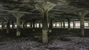 A general view of the abandoned textile mill where a photo journalist was raped by five men,