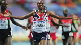Mo Farah celebrating as he wins the Men's 5,000m at the IAAF World Championships in Moscow.
