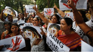 Supporters of Republican Party of India (RPI) shout slogans during a protest against the rape.