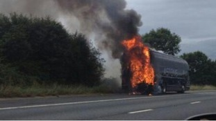 A passer-by captures the fire which broke out as the rugby team travelled to Swansea