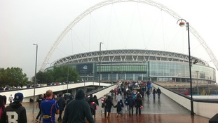 Fans head into Wembley Stadium