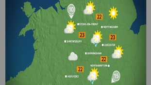 Sunday afternoon will hold the odd sharp shower, mainly further south