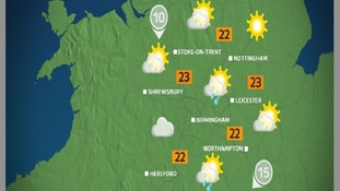 Sunday afternoon will bring the odd sharp shower, mainly further south