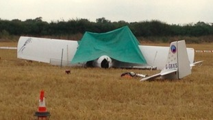 Wreckage of light air-craft that came down in a field in Wymeswold on Wednesday